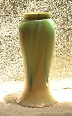 ANTIQUE CARDER STEUBEN TALL PULLED FEATHER AURENE SHADE on CUSTARD