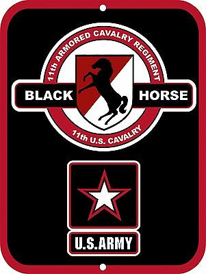 """UNITED STATES Army Black Horse 11th Armored Cavalry ACR Aluminum 9"""" x 12"""" Sign"""