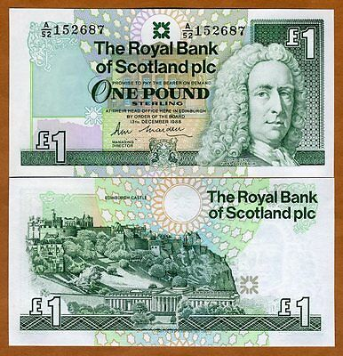 Scotland Royal Bank, 1 pound, 1988, P-351 (351a), UNC > Scarce First date