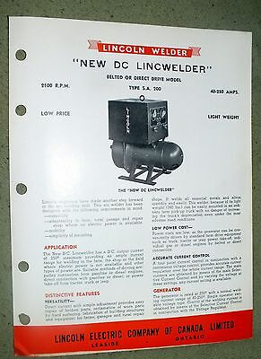 Lincoln Electric LINCWELDER DC SA 200 Brochure Cleveland Ohio Rare 1948 Welding