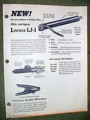 Lincoln Electric LJ-1 Electrode Holder Clamp Shield  Brochure Rare 1950 Welding