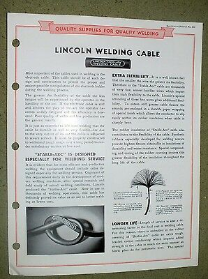 Lincoln Electric Welding Cable Stable Arc  Brochure Rare 1946 Welding
