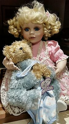"Marie Osmond "" Peek-A -Boo"" Porcelain Toddler Doll With Annette Funicello  Bear"