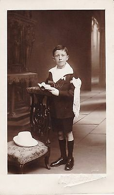 Real Photographic Postcard - Young Boy In Communion Outfit, Suit - Religious