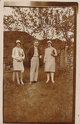 c1920s/30s Antique RPPC - Man And Two Ladies, Cloche Hats, Outdoors, Fashion