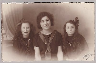 Antique RPPC: Young Ladies, Girls, Pretty Outfits, Hand Signed By Photographer