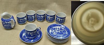 Vintage Japanese BLUE WILLOW LITHOPHANE PORCELAIN 6 CUPS & SAUCERS, CREAMER