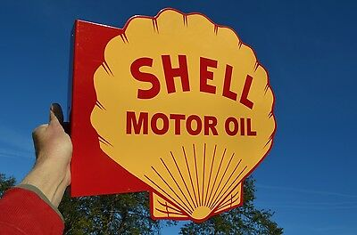 "Old Style Shell ""motor Oil"" Gas Station Dicut Hvy Steel Flange Sign Made In Usa"