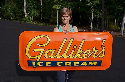 "VINTAGE 50's 53"" GALLIKER'S CONVEX ICE CREAM MILK DAIRY FARMS SIGN MINTY SCARCE"