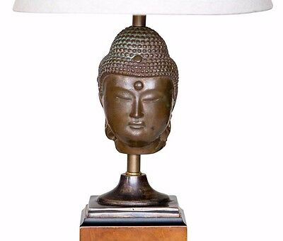Antique Bronze Buddha Head French Indochina Fragment Converted to Lamp Burl Base