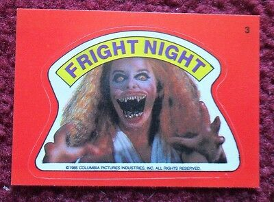 1988 Topps FRIGHT FLICKS Horror Movies Sticker Card #3 ~ FRIGHT NIGHT