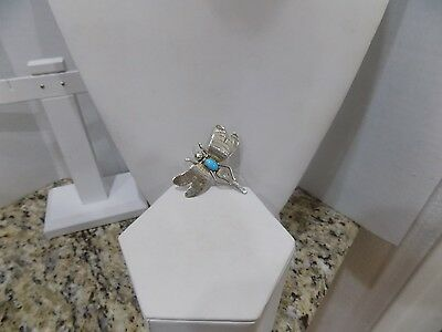 """Vintage Signed Sterling Silver and Turquoise Dragonfly Brooch/Pin 1/34 x 2"""""""