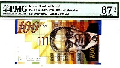 Israel Pick# 61c 2007 100 New Sheqalim PMG 67 Superb Gem UNC EPQ