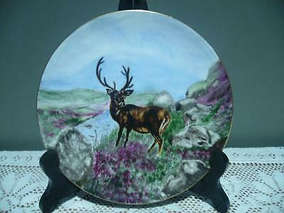 Royal Doulton England Vintage Upcycled Hand Painted Plate - Stag / Deer - Vgc