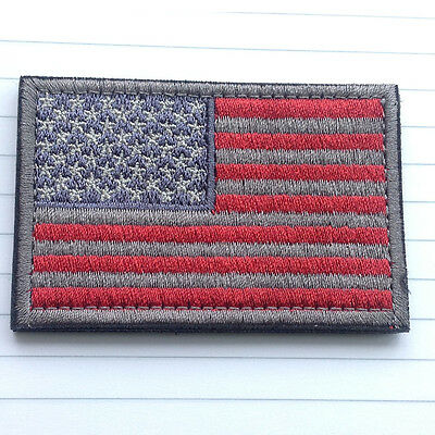 Usa American Flag Tactical U.s. Army Morale Military Badge Red Gray Hook Patch