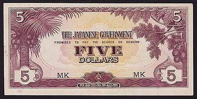 Malaya - Japan occupation WWII Banknote 5 Dollars 1942 P-M6c Block Letters MK