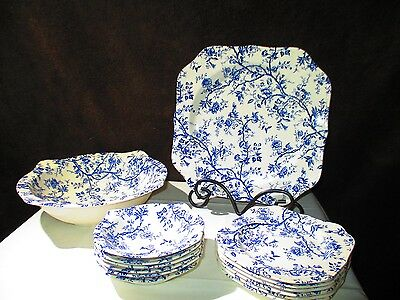 Vintage Old Bradbury Johnson Brothers 13 Piece Blue & White Set Made in England