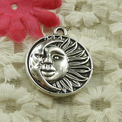 Free Ship 20 pieces Antique silver round sun face charms pendant 29x25mm H-4838