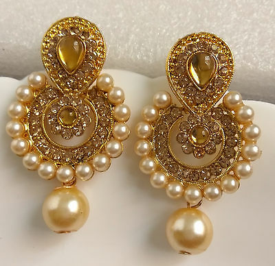 South Indian Ethnic Antique Bridal Party GoldTone Pearl Drop CZ Earring Jhumka