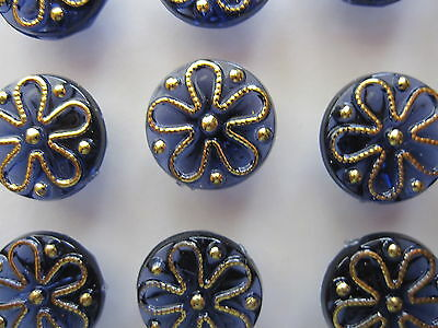 "12  "" DARK BLUE with GOLD Flower design ""  Coloured Buttons...New...1.2cm"