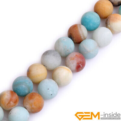 Natural Amazonite Frosted Matte 2mm Big Hole Round Beads For Jewelry Making 15""