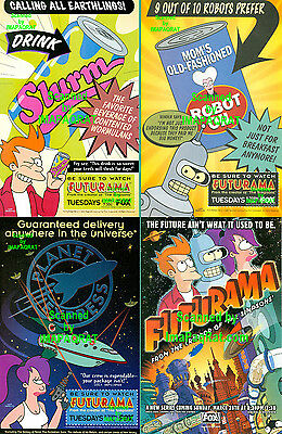 Futurama: All 4 Different, 1999 Premier, Print Ads: Fry, Bender, Leela & Combo