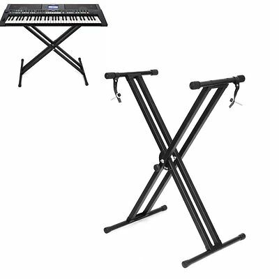 Heavy Duty Piano Keyboard Stand Double Braced X Frame Height Adjustable Folding