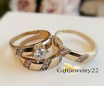 His And Her Diamond Trio Set 10K Yellow Gold Engagement Bridal Ring Wedding Band