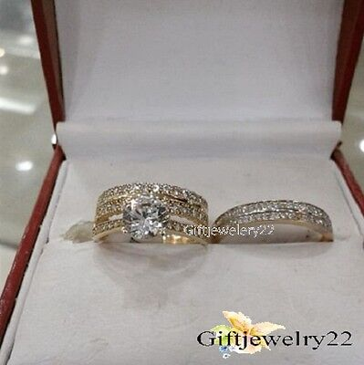 Diamond Trio Set Engagement Ring Wedding Band 14K Yellow Gold His & Hers 1.70 Ct