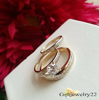 10K Yellow Gold His Hers Diamond Engagement Wedding Bridal Ring Bands Trio Set
