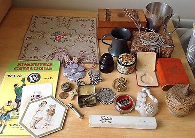 JOB LOT ANTIQUE/VINTAGE COLLECTABLES & CURIOS -S/plate/ Pewter/Tapestry/moneybox