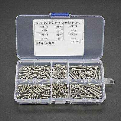 Qty240 M3 A2 Stainless Steel Assortment Kit Button Head Hex Socket Screw & Nuts