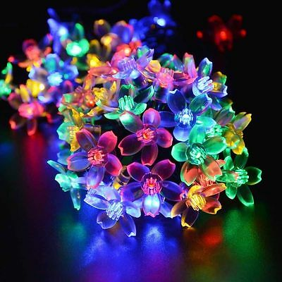 50 Led RGB Solar String Fairy Lights Flower Lights Outdoor Garden Xmas Lawn New