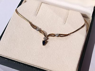 9ct 375 yellow gold diamond sapphire necklace
