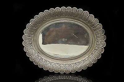 Antique Original Silver Filigree Amazing Tugra Decorated Ottoman Small Tray