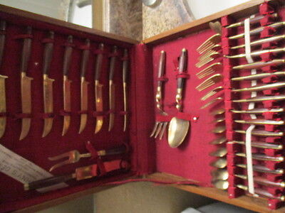 1970s JOHNNY'S GEMS BANGKOK THAILAND BRASS & WOOD FLATWARE SET