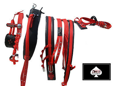 New Horse Nylon Driving Harness Set Top Quality Full,cob,pony  Red/black Colour