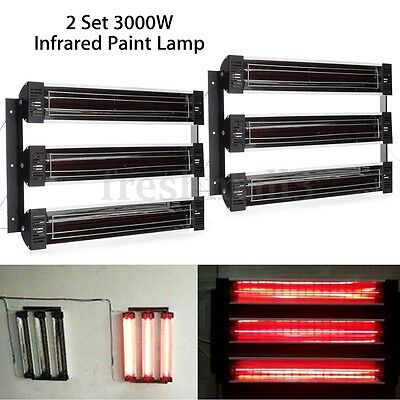 2 Set 3KW Spray Baking Booth Paint Curing Heater Infrared Heating Lamp Lights