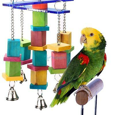 Parrot Bird Bite Toys Swing Wood Chew Rope Toys with Bells  for Medium Size Bird