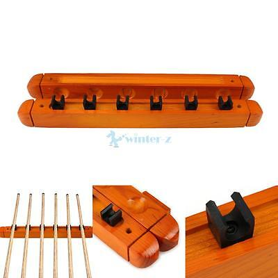 2PCS Billiard Pool Wall Mount Hanging 6 Cue Sticks Wood Rack Holder for Snooker