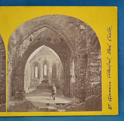1860s Stereoview Photo St Germains Cathedral Peel Castle Isle Of Man