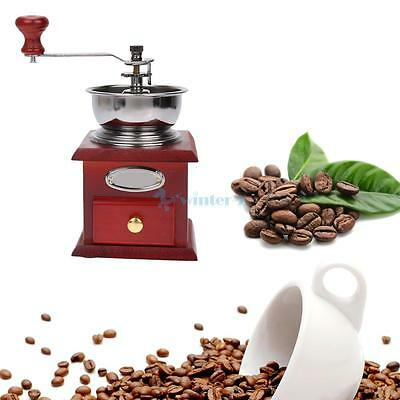 Manual Coffee Grinder Mill Hand Crank Adjustable Wood Iron Antique