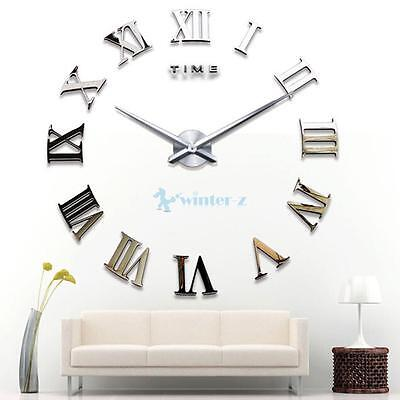 DIY 3D Wall Clock Sticker Metal Watches Roman Numeral Home Decor Silver UK
