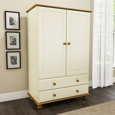 New Modern Solid Mexican Pine/Cream 2 Door 2 Drawer  Wardrobe Bedside Furniture