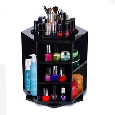 Make Up Organiser Acrylic Clear All in One Cosmetic Display Turning Shelf Rack