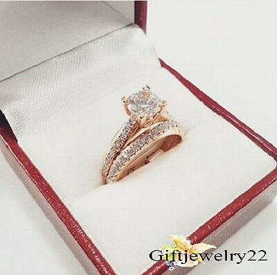1.28 CT Round Cut Diamond Engagement Bridal Ring Wedding Band Set 10K Rose Gold