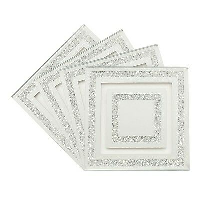 Set of 4 Mirror Glass Silver Glitter Heat Resistant Coasters Dining Table Mat