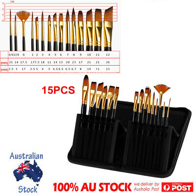 15Pcs Nylon Hair Art Paint Brushes Set Acrylic Watercolor Face Paintings W/ Bag