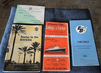 EUROPA BUS TIMETABLE 1955 CUNARD LINE SAILINGS 193 AA ROUTES TO RIVERIA 1950s 33