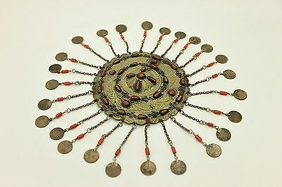 Antique  Alpacca Silver Mixed Coral Decorated  Anatolian Bridal Head Piece